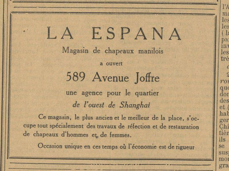 Anuncio de la tienda La Espana