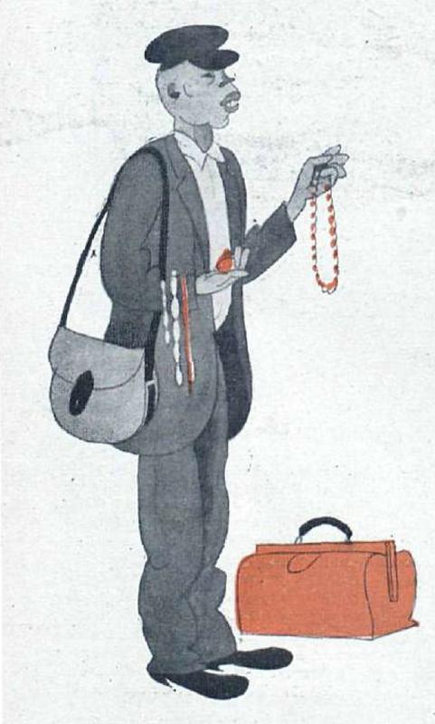 Dibujo de un vendedor de collares