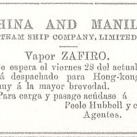 Anuncio de la China and Manila Steam Ship Company
